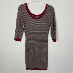 Forever 21 red, green & cream ribbed dress